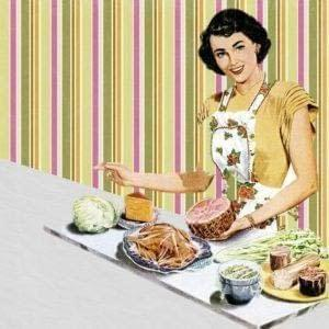 1950s housewife cooking a healthy meal.
